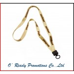 Cotton Lanyard with Plastic Clamshell and O-Ring