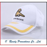 White Baseball Cap Embroidery Logo Velcro Buckle