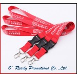 Silkscreen Printing Red Lanyard with Safety Buckle